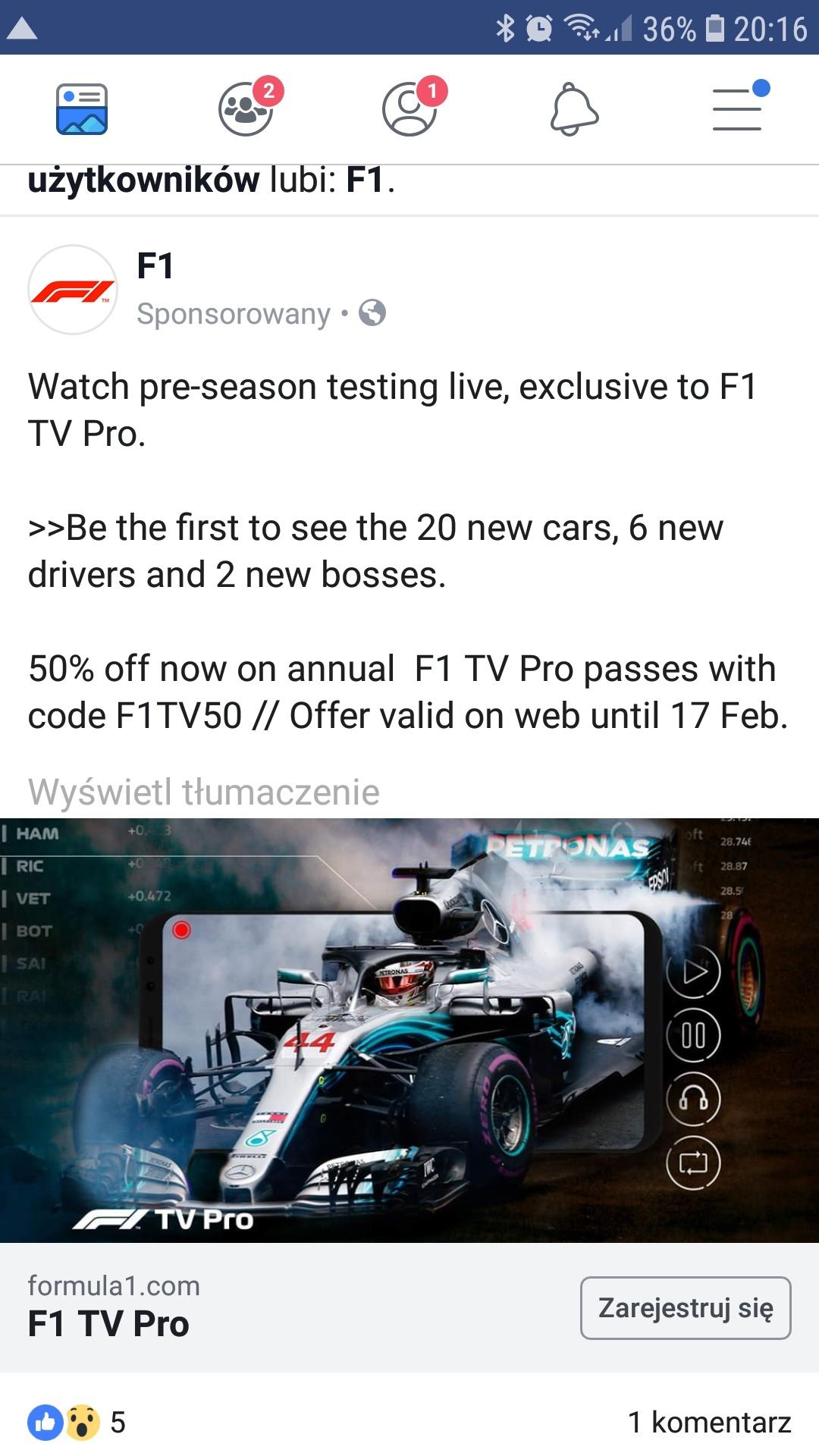 F1 TV PRO za połowę ceny przy zakupie na cały rok