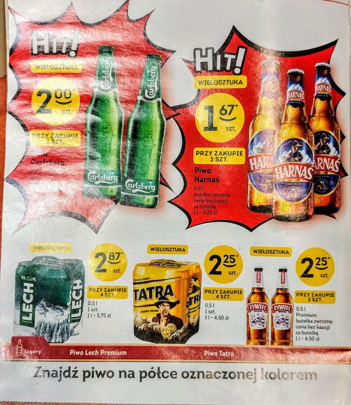 Piwo w Żabce - Carlsberg 2zl - Harnaś 1.67zl