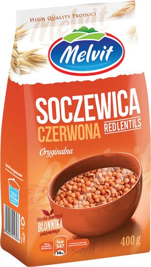 Soczewica czerwona Melvit 400 g, bardzo wartościowa, alternatywa dla mięsa, Żabka