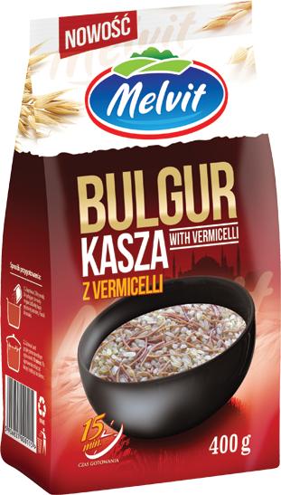 Kasza bulgur z vermicelli 400g Melvit, bardzo pożywna i zdrowa, dobra m.in. dla kobiet w ciąży i cukrzyków, Żabka