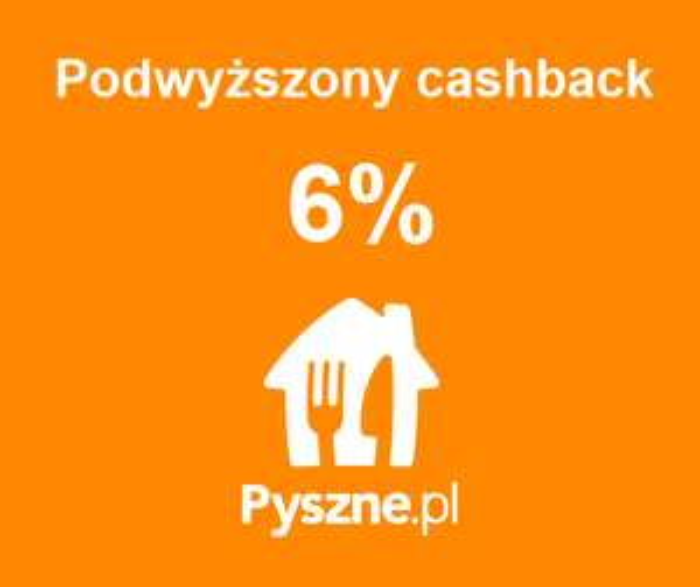Podwyższony cashback 6% na Pyszne.pl