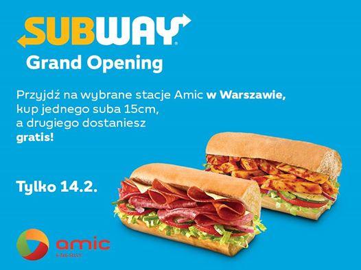 Subway Warszawa 2 kanapki w cenie jednej (14.02)