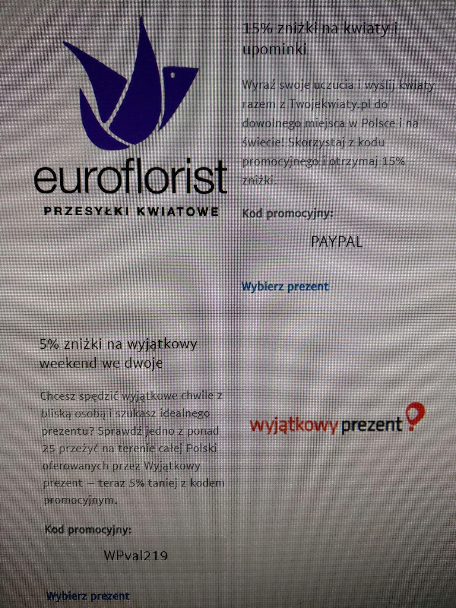 euroflorist -15% & wyjątkowy prezent -5% @walentynki