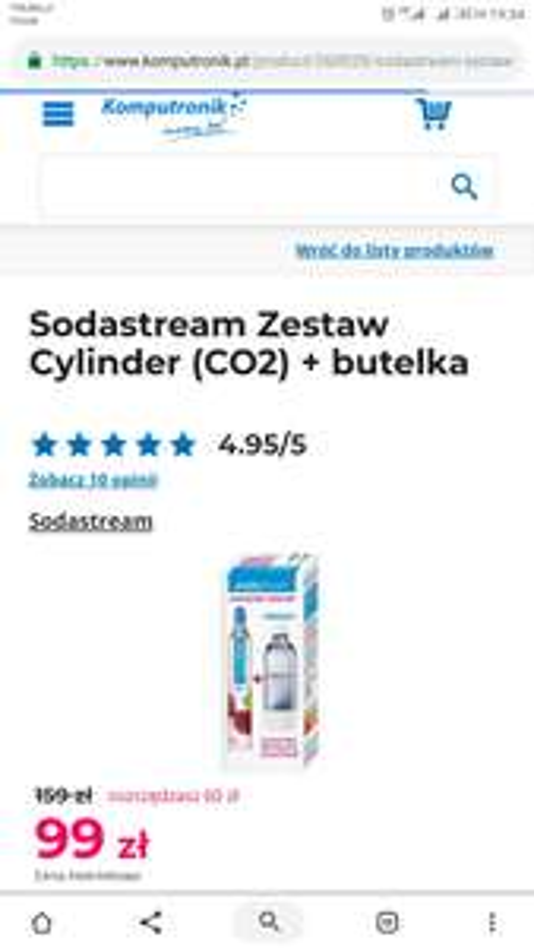 Sodastream - zestaw cylinder (CO2) + butelka 1L