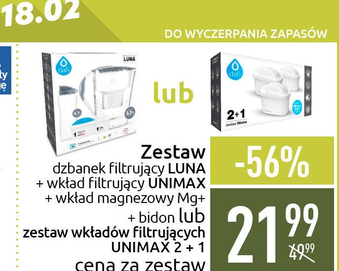 Dzbanek filtrujący Dafi Luna 3,3L + 2 filtry(zwykły i Mg)+bidon 0,7L lub zestaw 3 filtrów Unimax, Carrefour