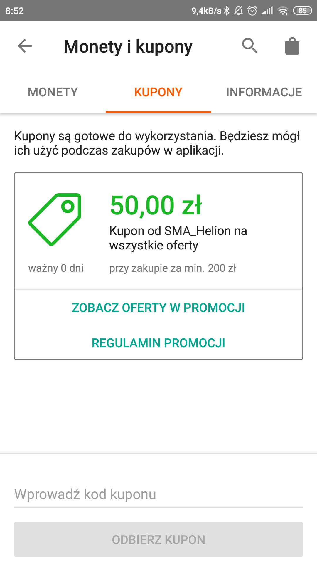 Kupon 50zl Helion na Allegro