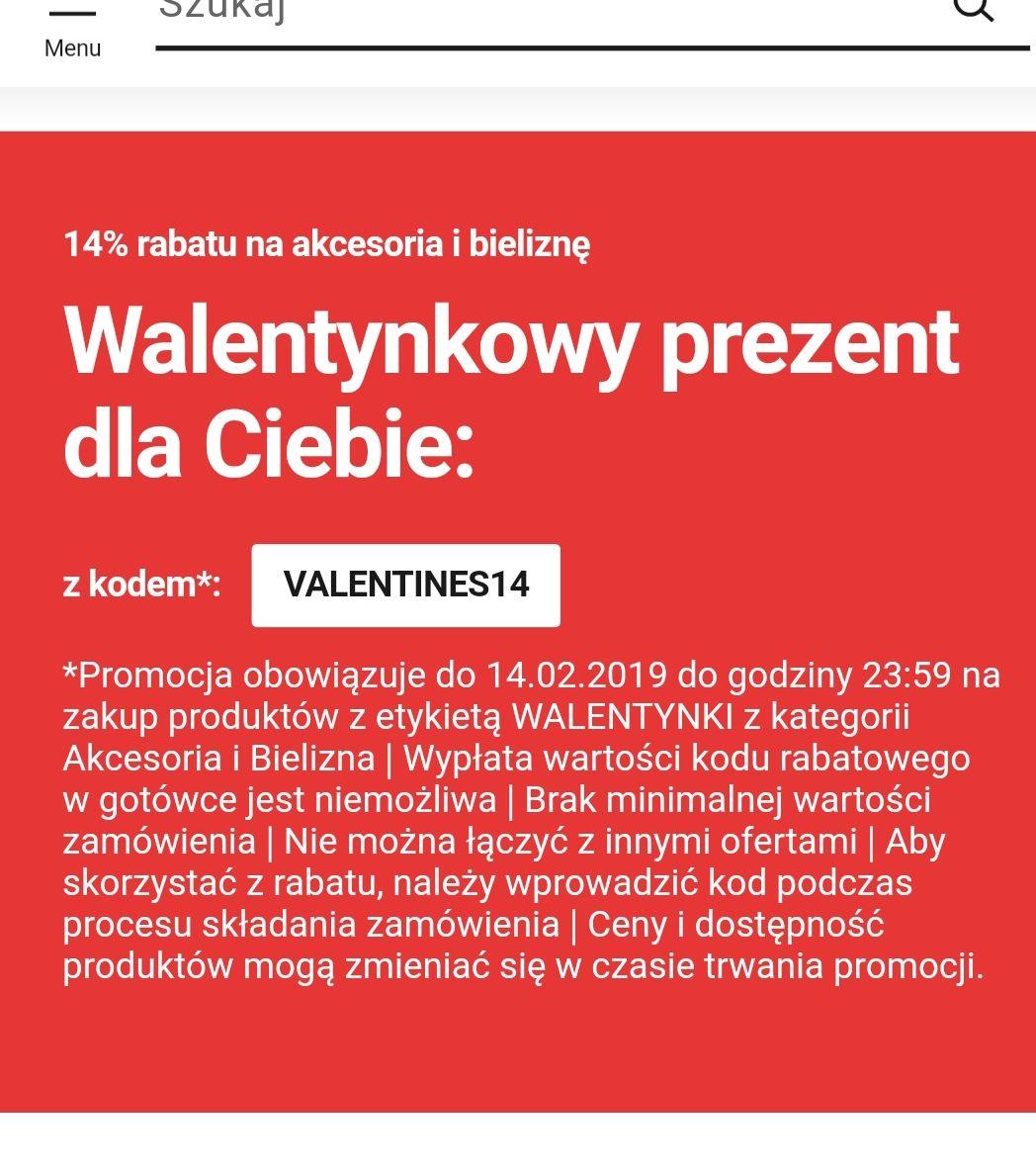 14% rabatu z kodem VALENTINES14 na akcesoria i bieliznę oznaczone etykietą WALENTYNKI tylko do 14.02.2019!
