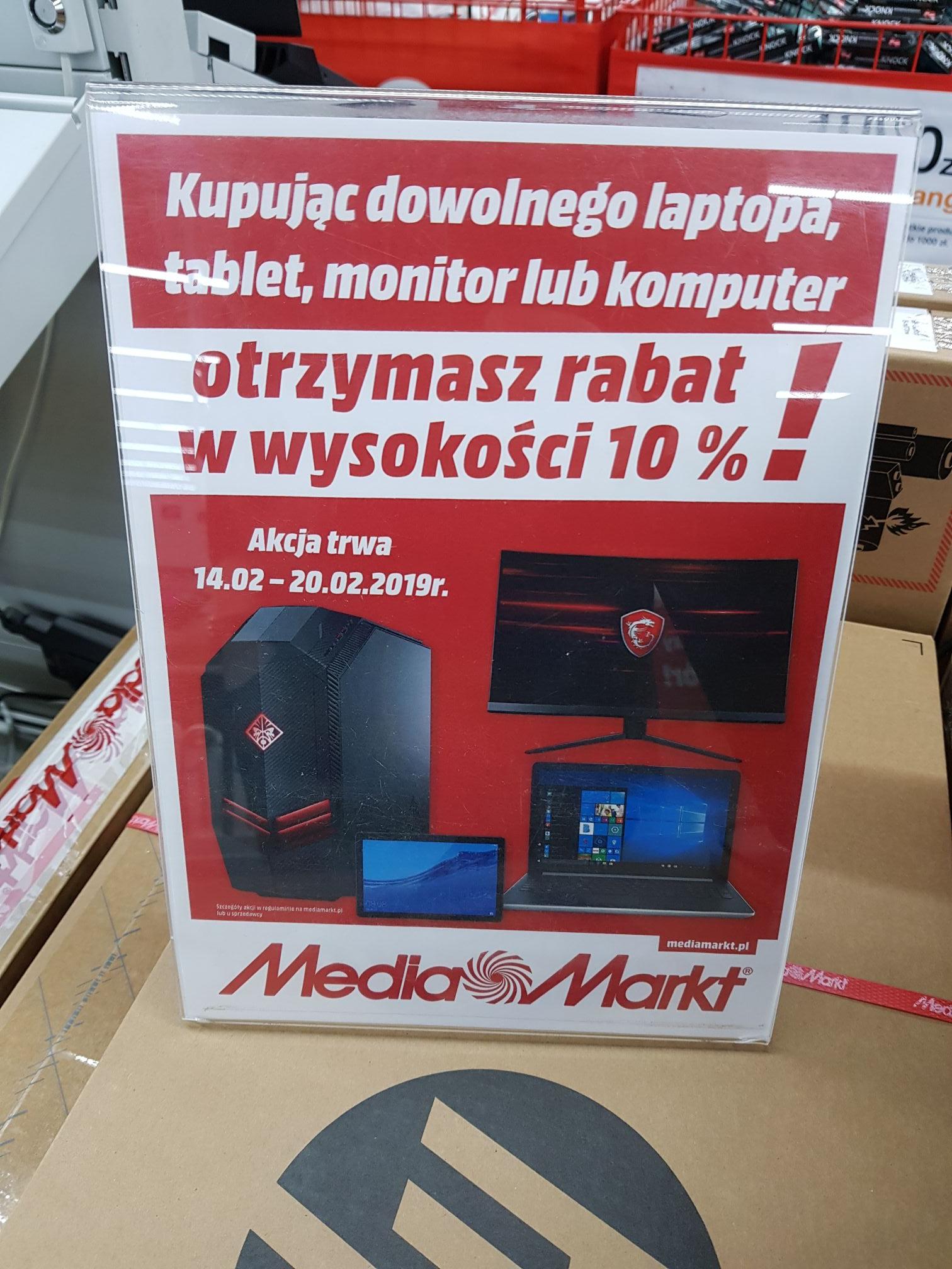 -10 procent na laptopy, monitory, tablety i komputery w MediaMarkt