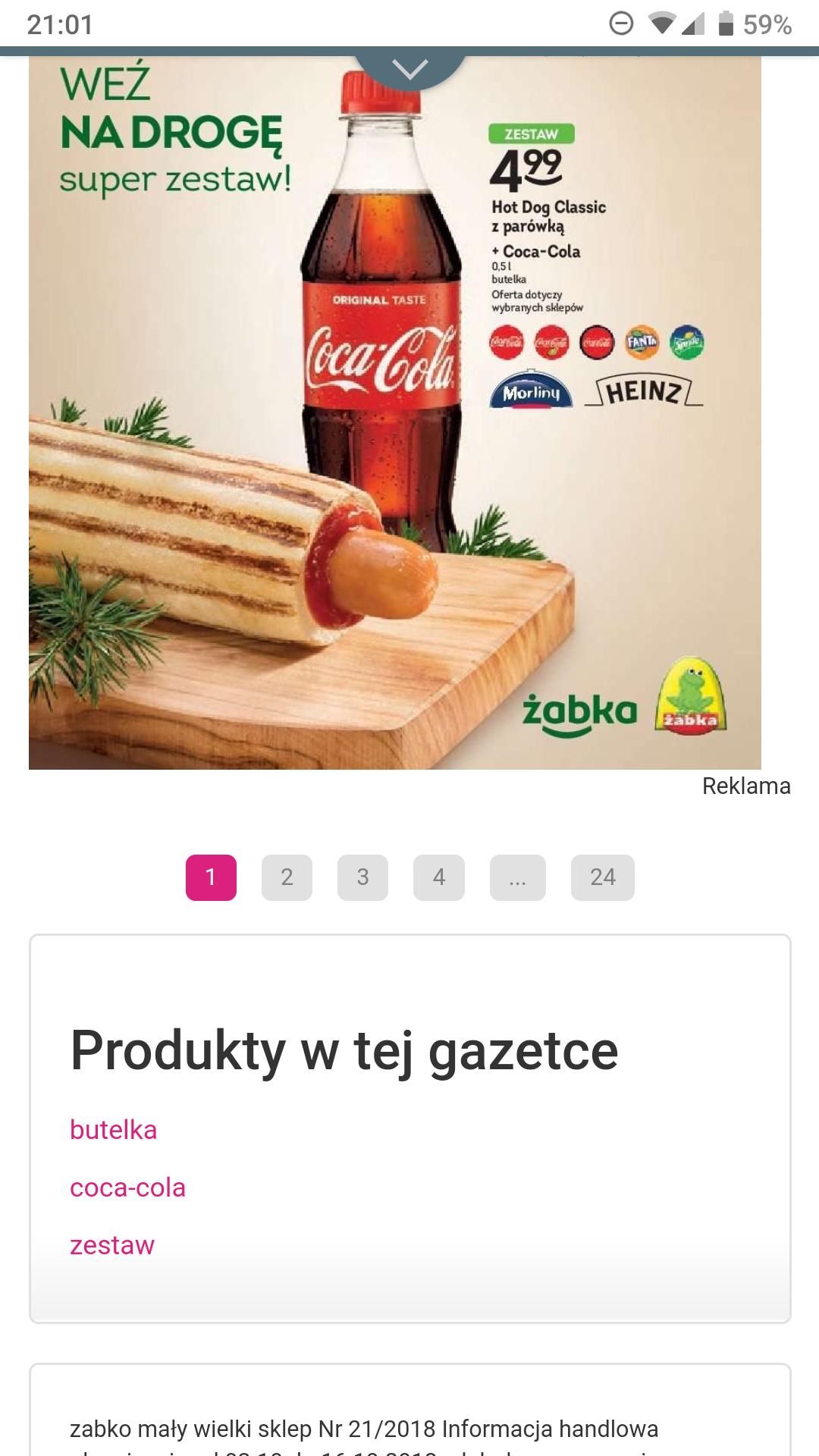 Żabka-Hot-dog + Coca-Cola 0,5