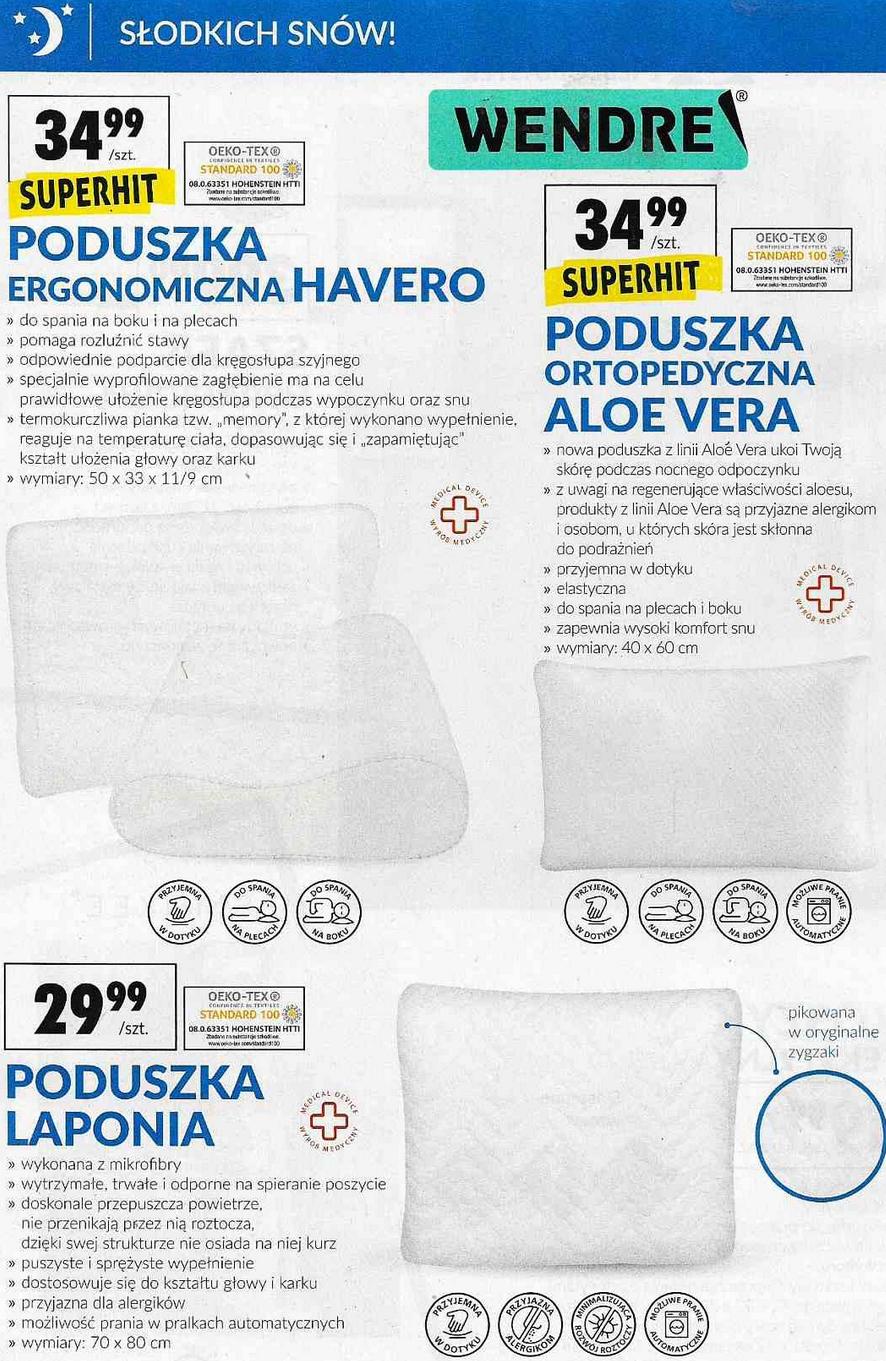 """Poduszka ergonomiczna Wendre Havero 50x33x11/9cm (z """"memory"""") oraz inne @ Biedronka"""