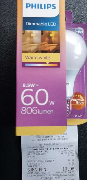 Philips LED Dimmable 8.5W 806 lumen. Tesco