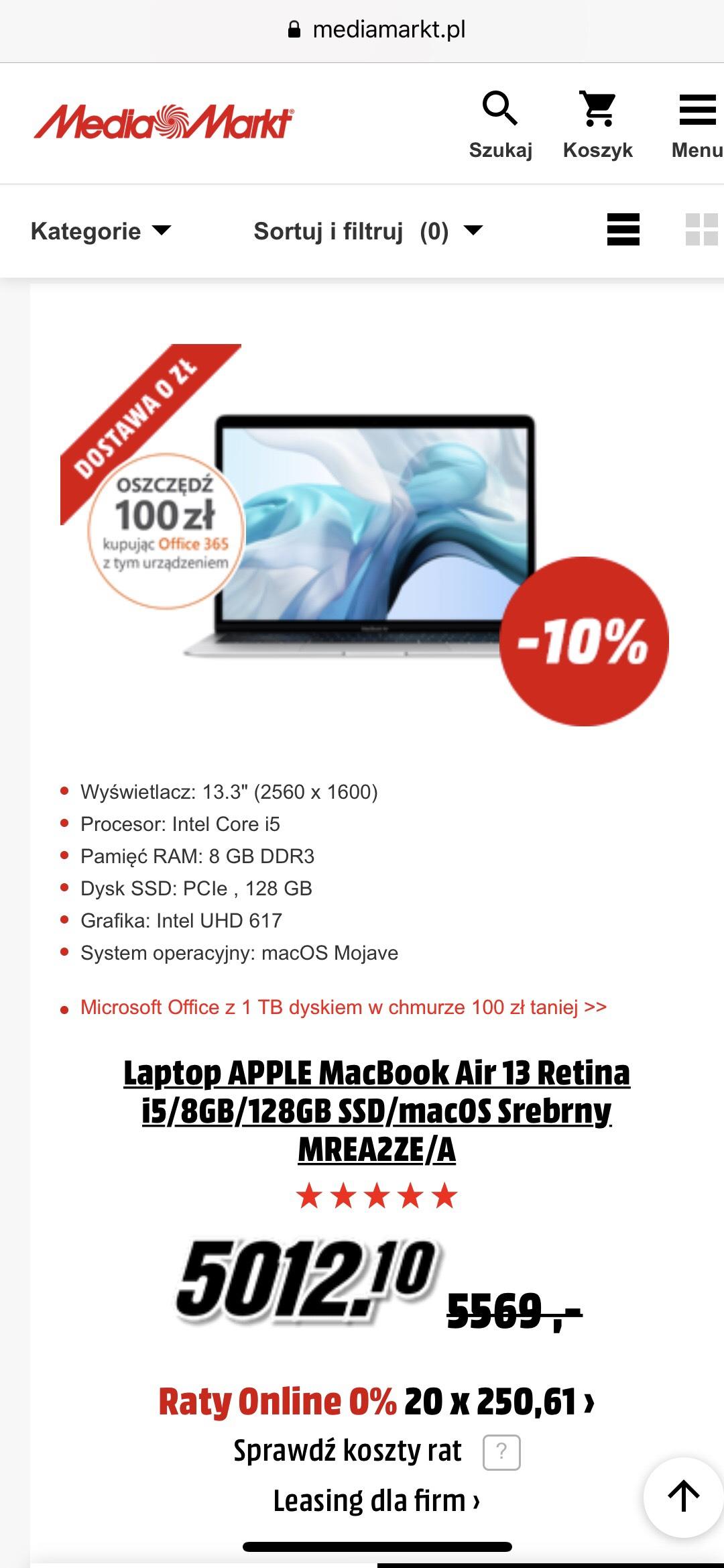 Laptop APPLE MacBook Air 13 Retina i5/8GB/128GB SSD/macOS Srebrny MREA2ZE/A