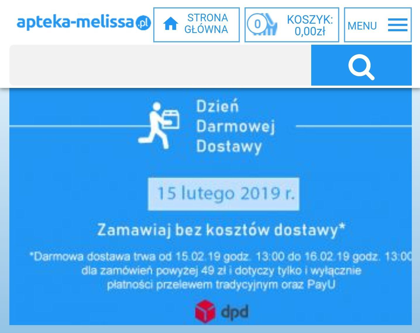 Apteka Melissa Dzień Darmowej Dostawy MWZ 49zl