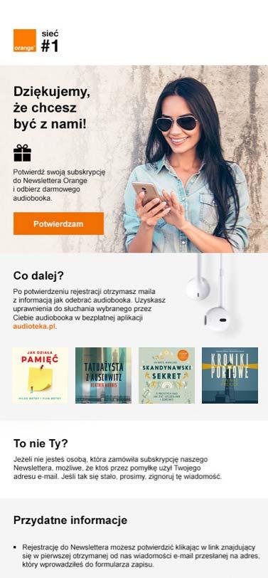 Darmowy audiobook za subskrypcję do newslettera Orange