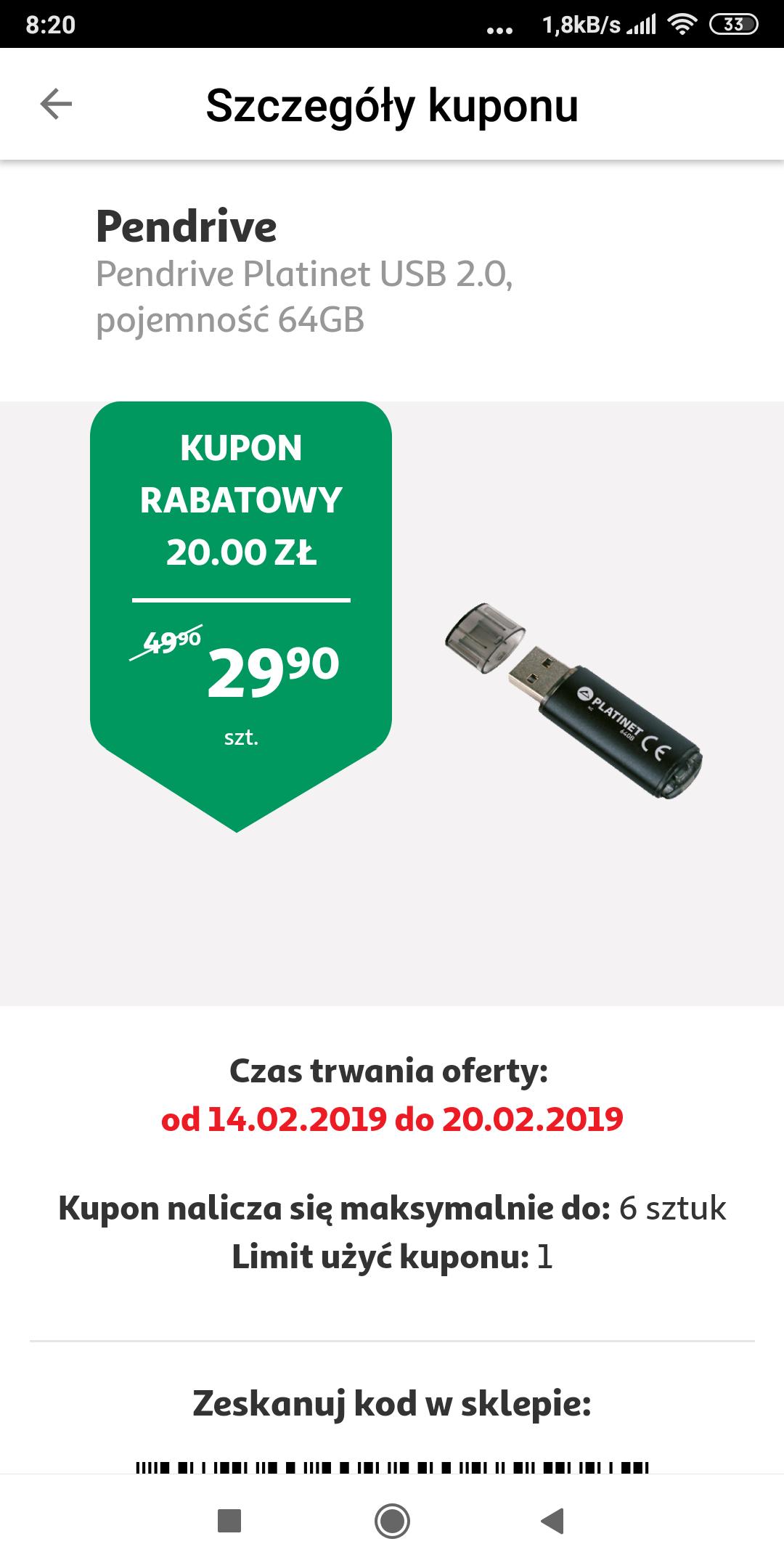 Pendrive Platinet USB 2.0, pojemność 64GB