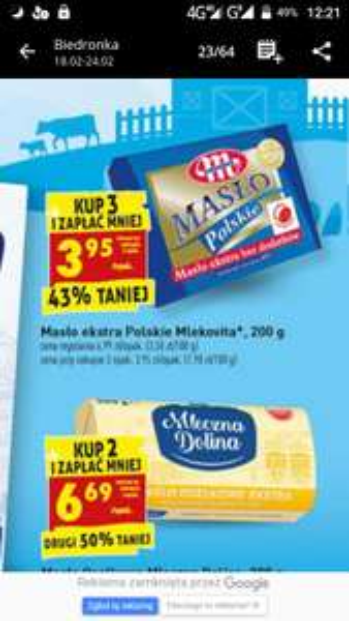 Masło extra Polskie Mlekovita 200g za 3,95 przy zakupie 3 sztuk Biedronka