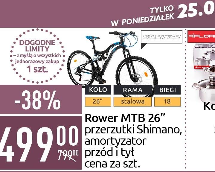 """Rower MTB 26"""" Goetze Tough, amortyzatory przód i tył, Carrefour"""