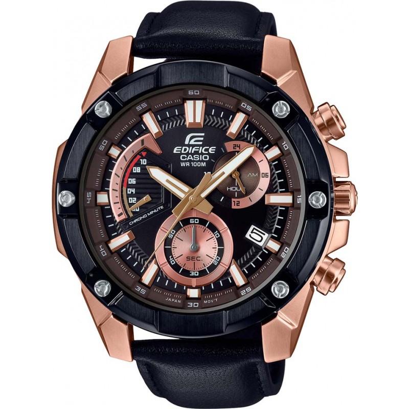 Zegarek Casio Edifice EFR-559BGL-1AVUEF (wodoszczelność do 100m, szkło mineralne, skórzany pasek) @ Watches2u