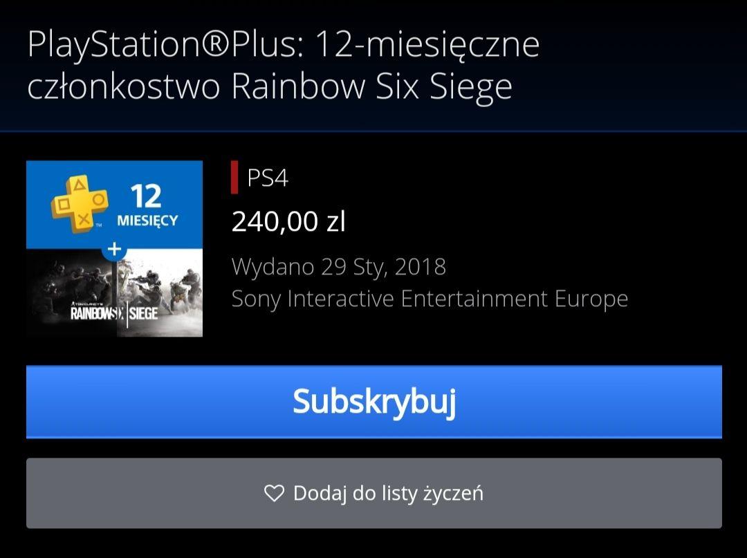 PlayStation Plus 12 miesięcy + Rainbow six siege