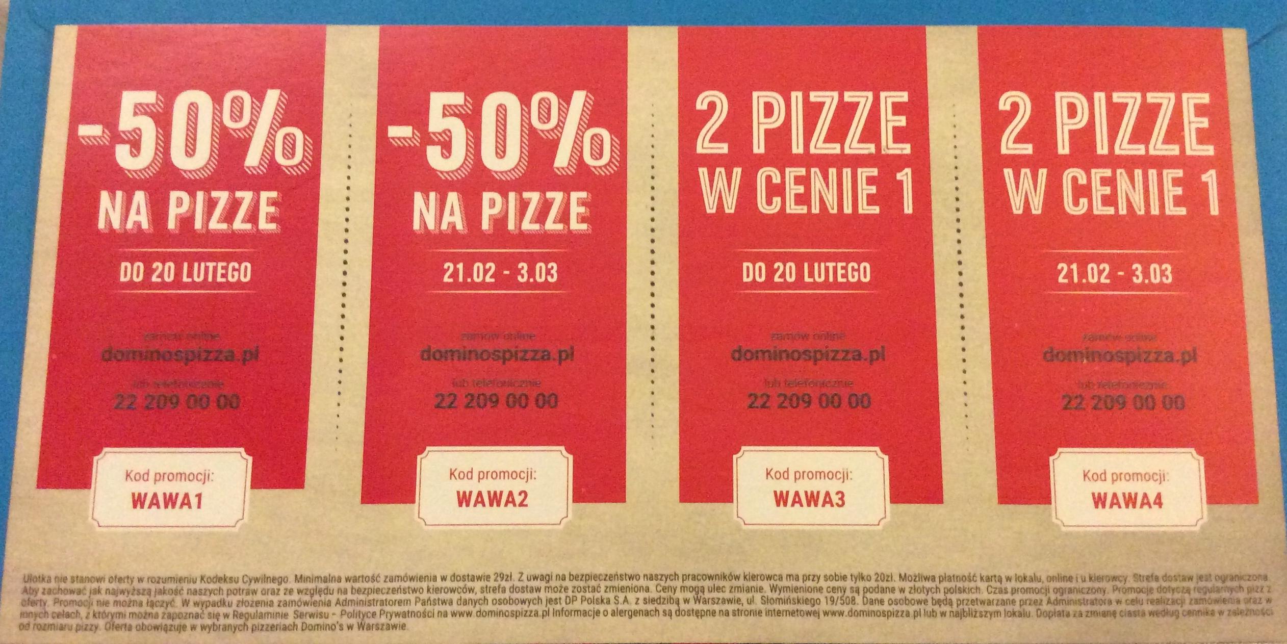 Dominos pizza -50% na pizzę oraz 2 pizze w cenie 1 Warszawa
