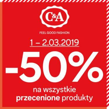 dodatkowe -50% na przecenione produkty w C&A (stacjonarnie i online)