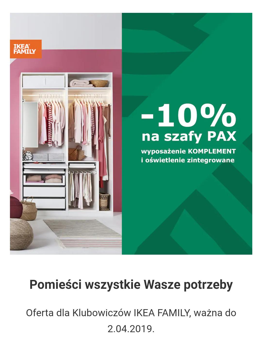 Ikea PAX -10% z kartą Ikea Family
