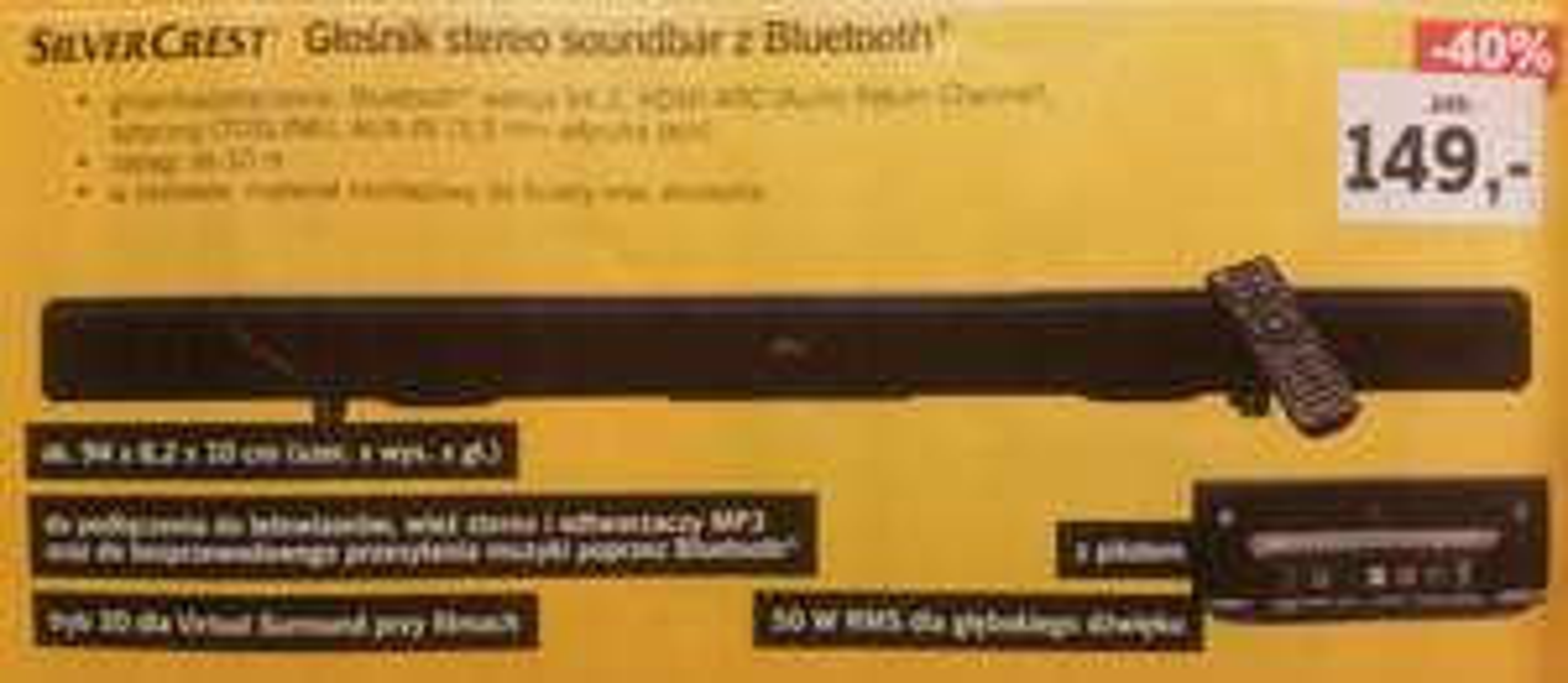 Glosnik. Soundbar z Bluetooth. SilverCrest. Lidl