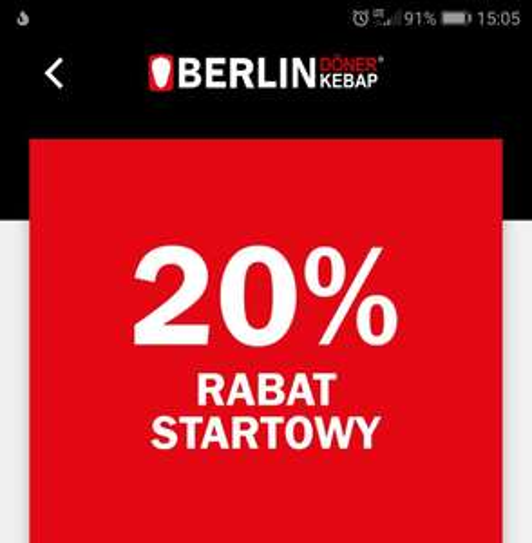 Berlin Doner Kebab -20% rabatu za rejestrację w apce