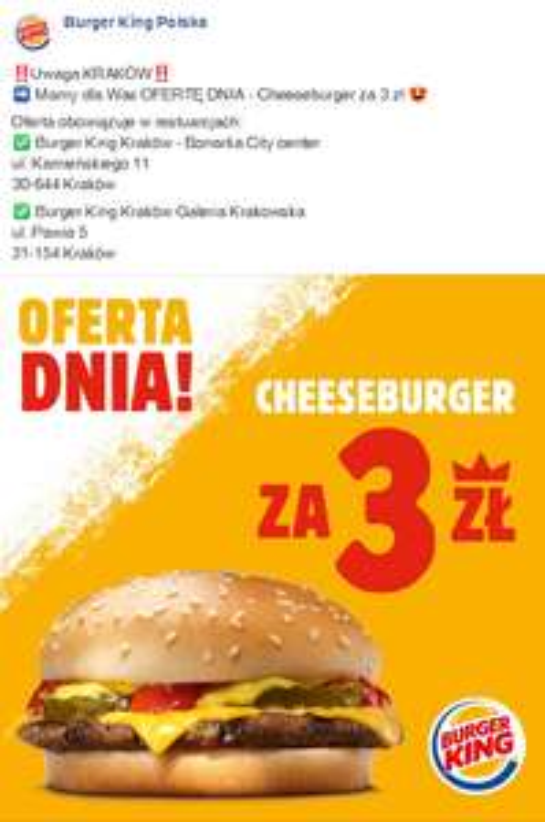 Cheeseburger w Burger King - Oferta Dnia Kraków