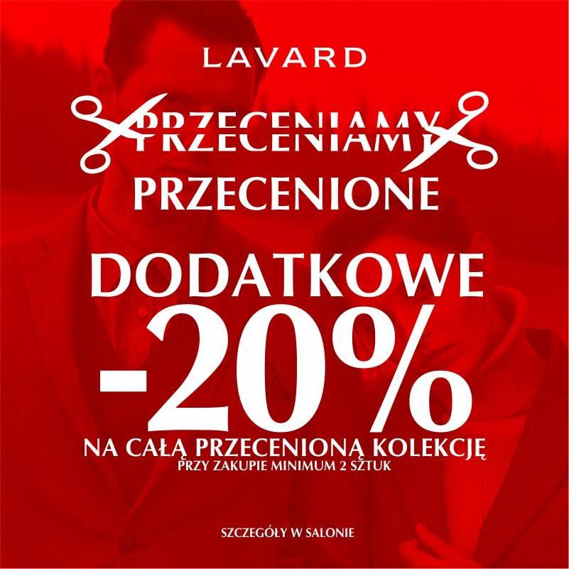 Dodatkowe 20% rabatu na przecenione produkty przy zakupie 2 sztuk (garnitury od 350zł) @ Lavard