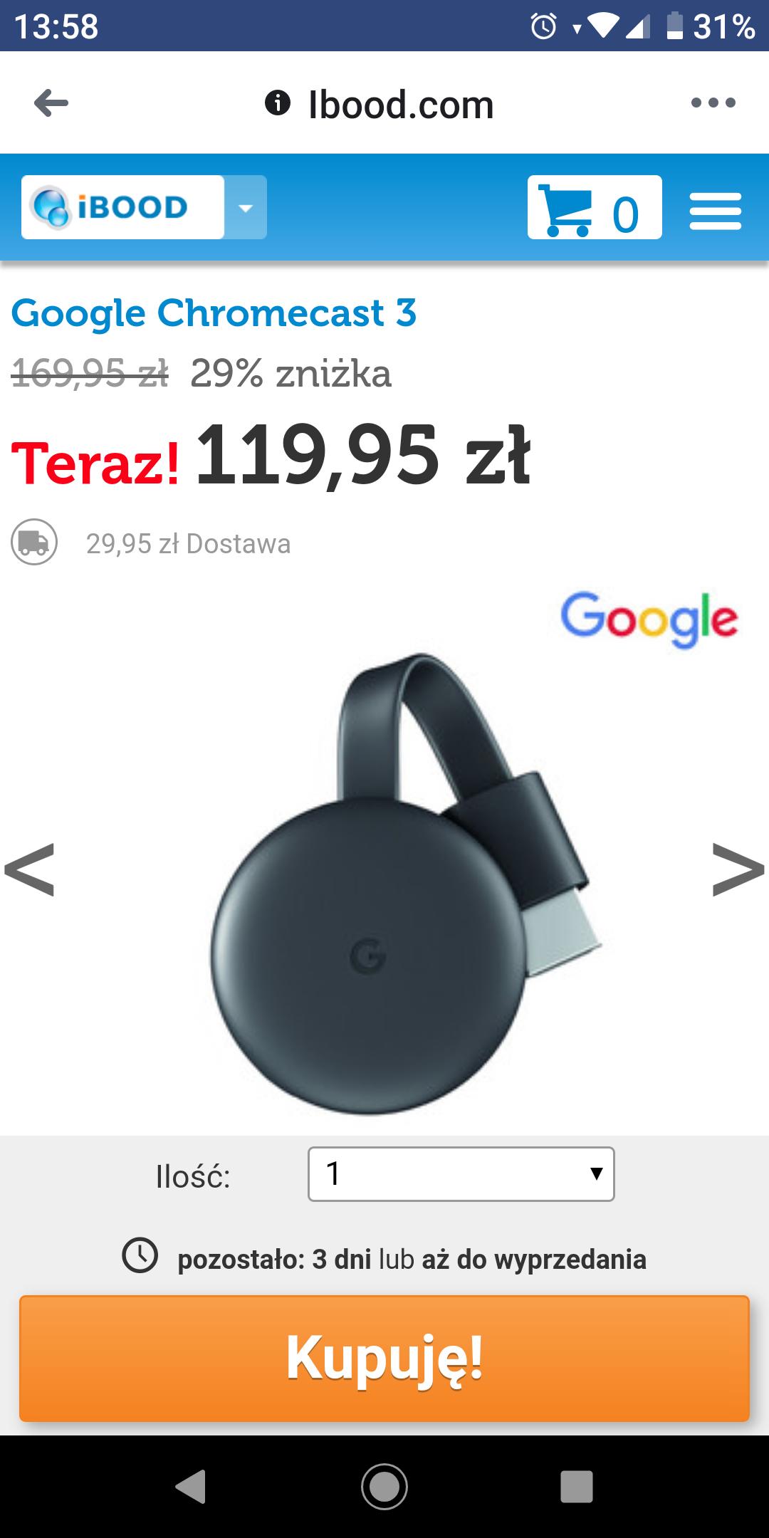 Google chromecast 3 za 119,95zł + wysyłka @ Ibood