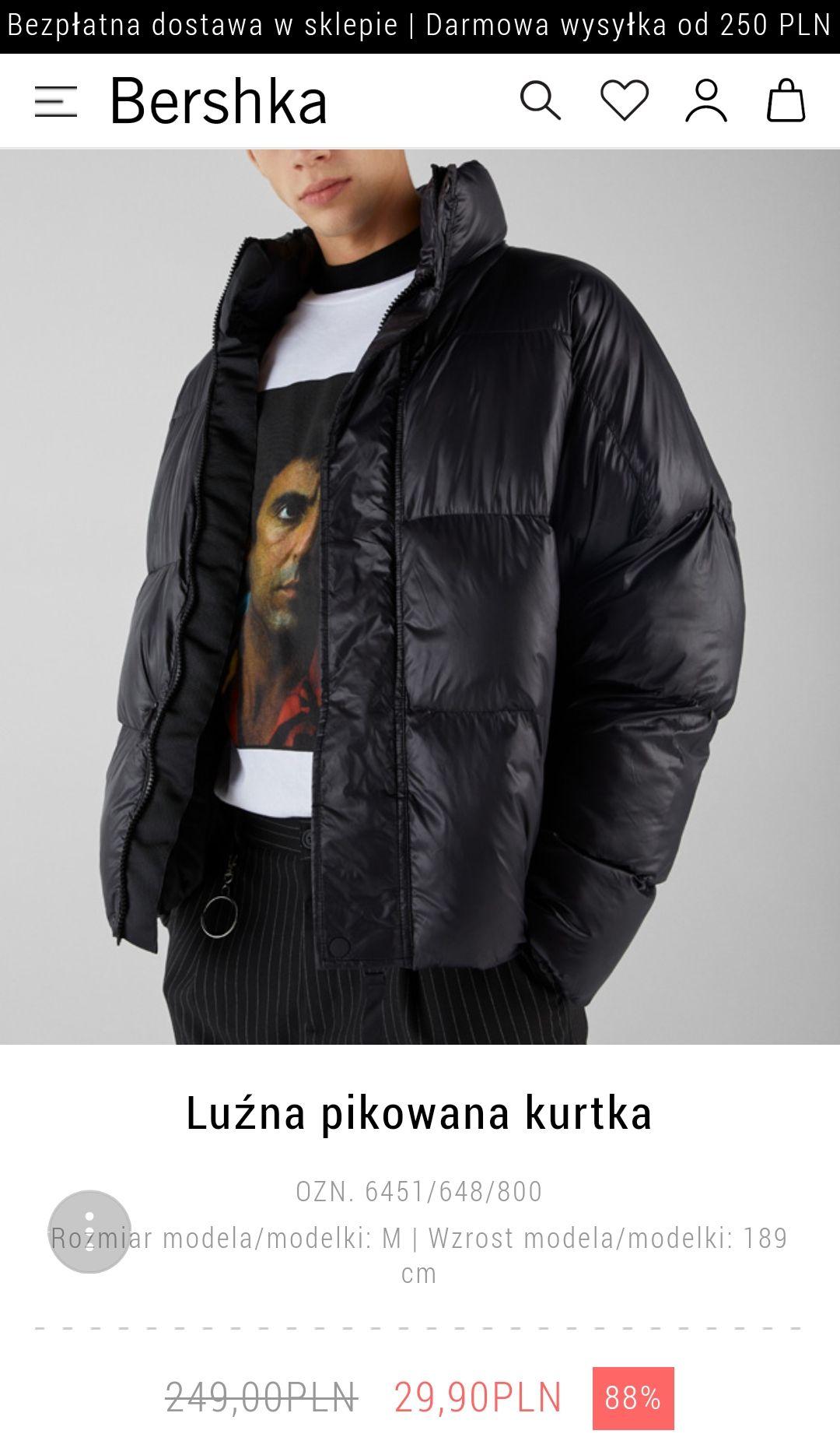 Bershka - męska kurtka pikowana