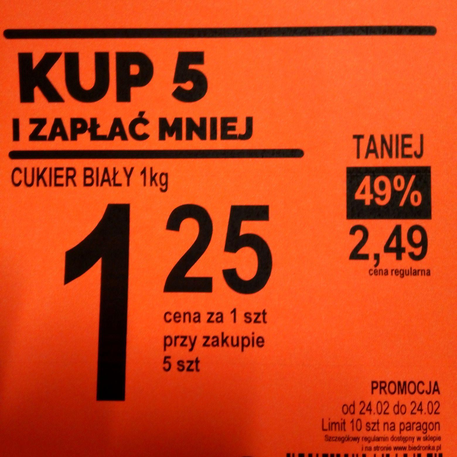 Cukier biały 1kg cena 1,25zl Tylko 24.02.@ biedronka.