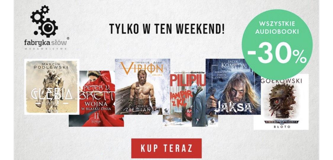 Audiobooki wydawnictwa Fabryka Słów 30% taniej