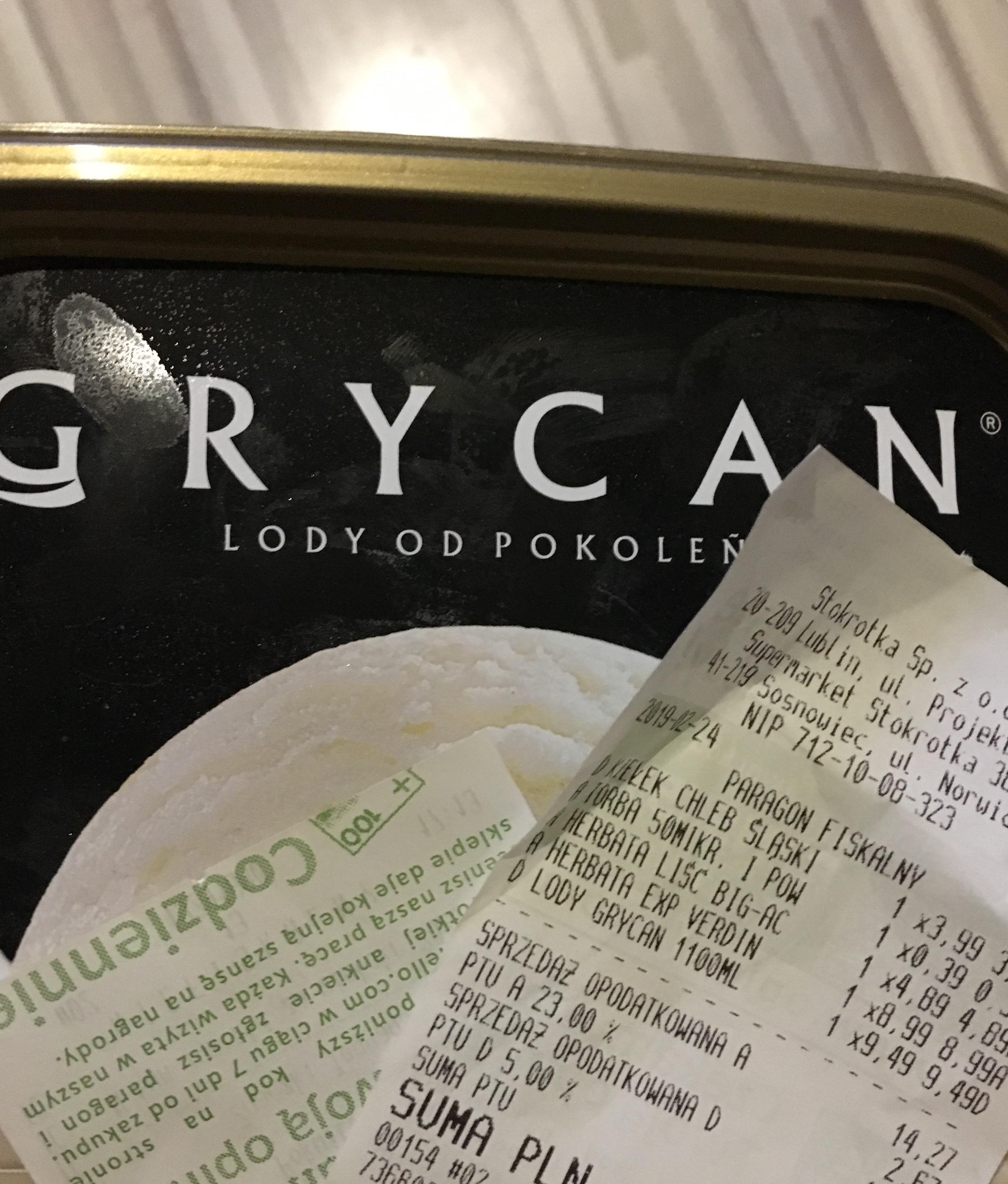 Lody Grycan 1100 ml - Stokrotka