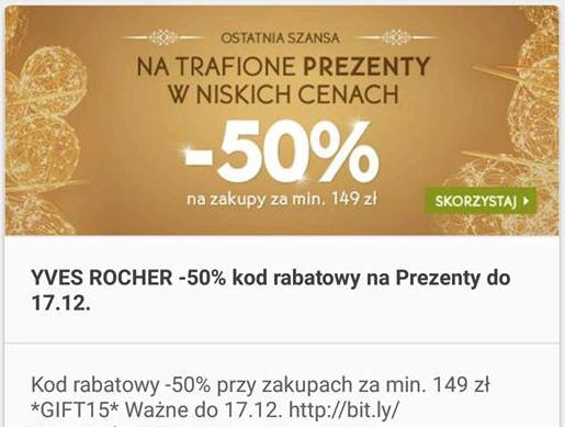 -50% + prezenty @YVES ROCHER do 17.12