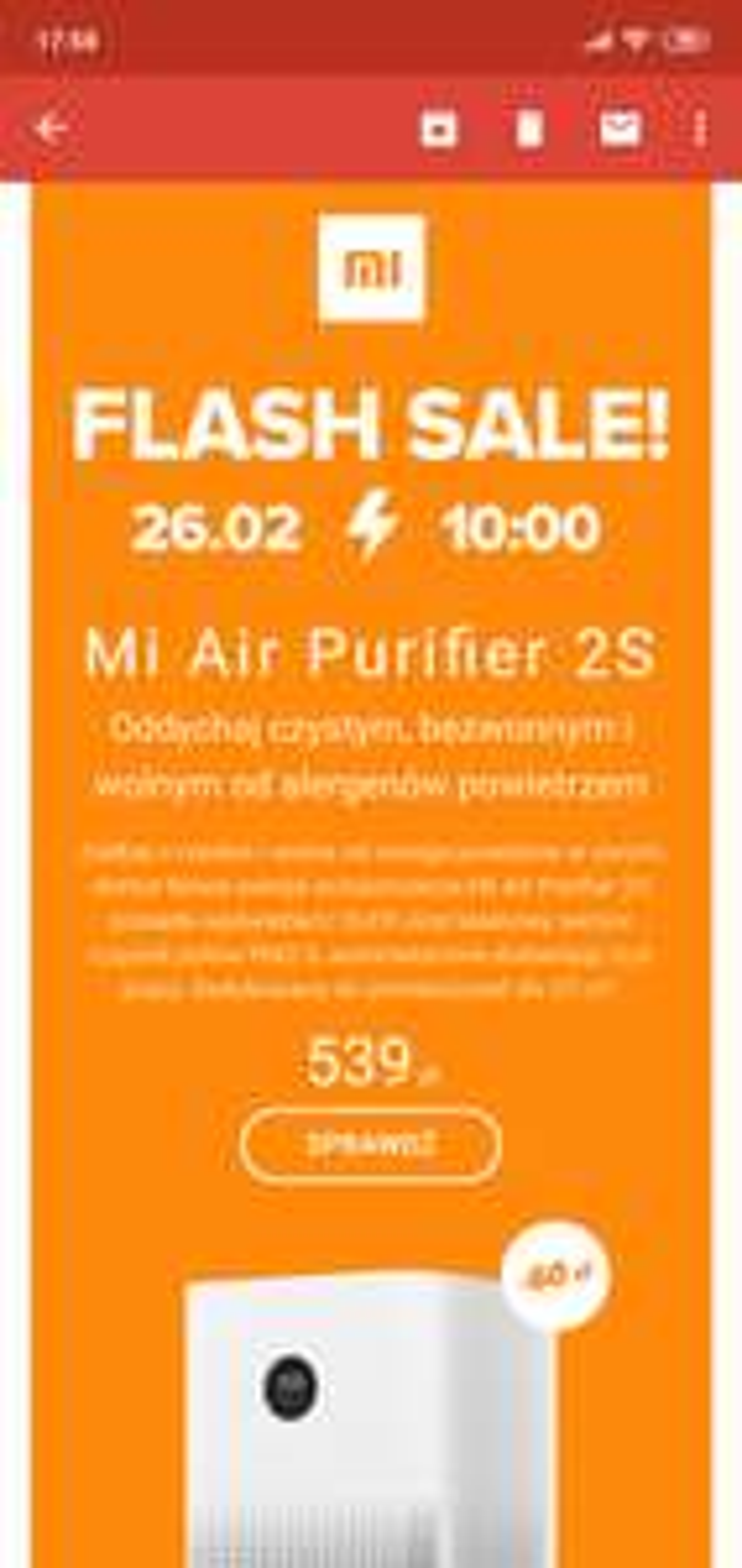 Xiaomi Mi Air Purifier 2s jutro od 10:00 flash sale w sklepie Xiaomi