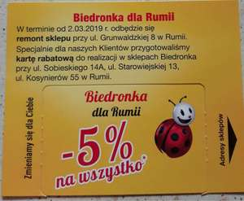 karta na 5% rabatu w Biedronkach w Rumi