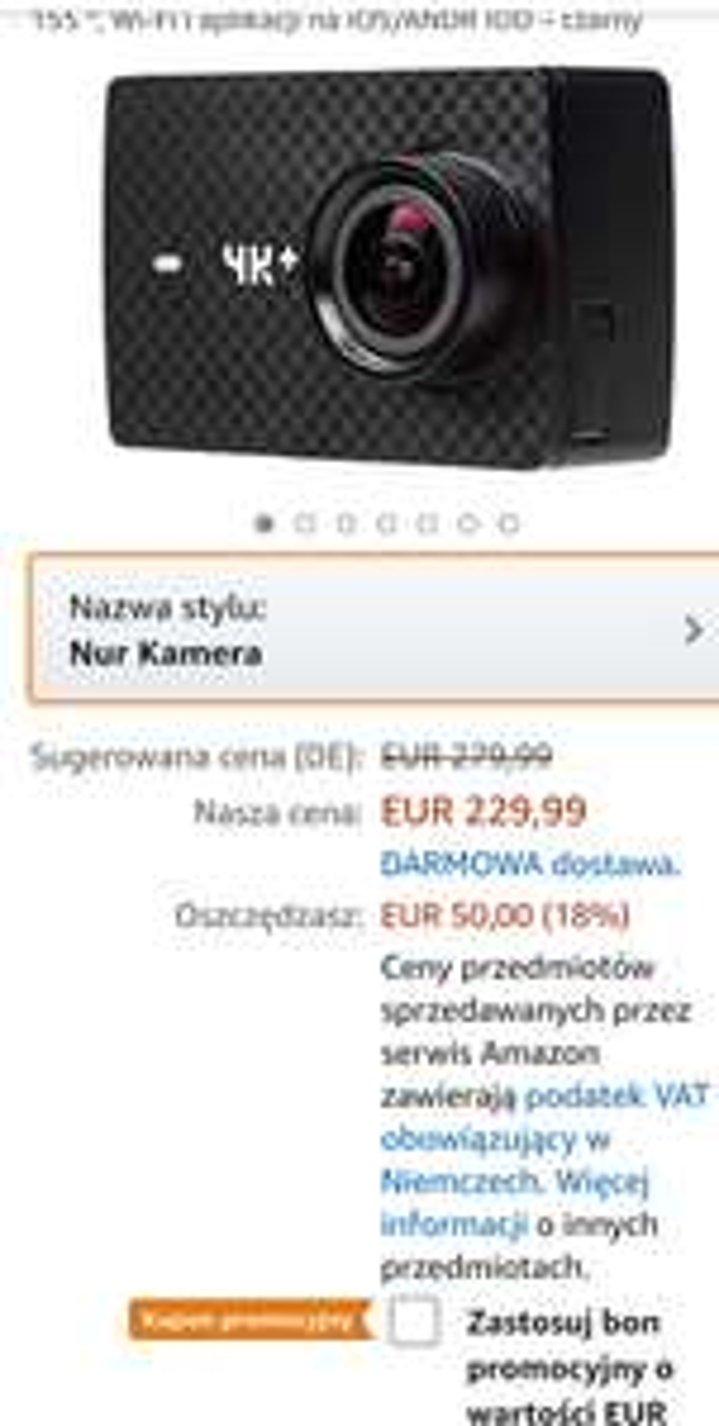 Yi 4k plus na Amazon z bonem 50 euro (z 229euro)