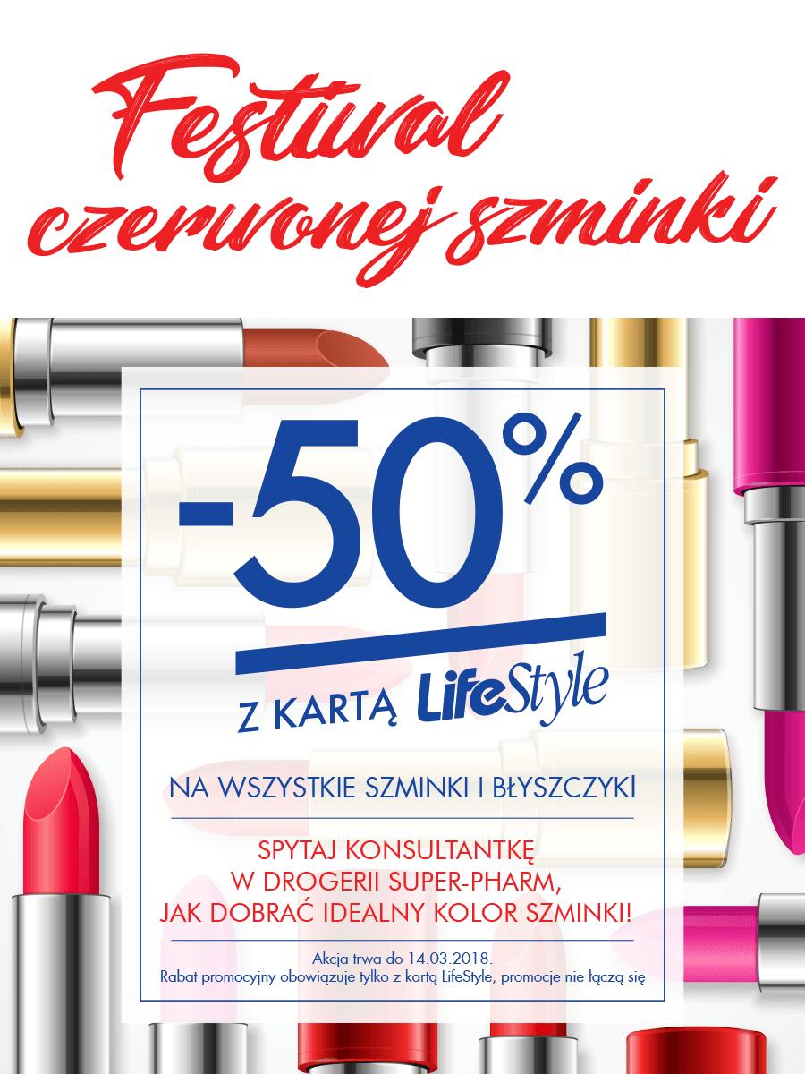 -50% na wszystkie czerwone szminki i błyszczyki (z kartą LifeStyle) @ Super-Pharm