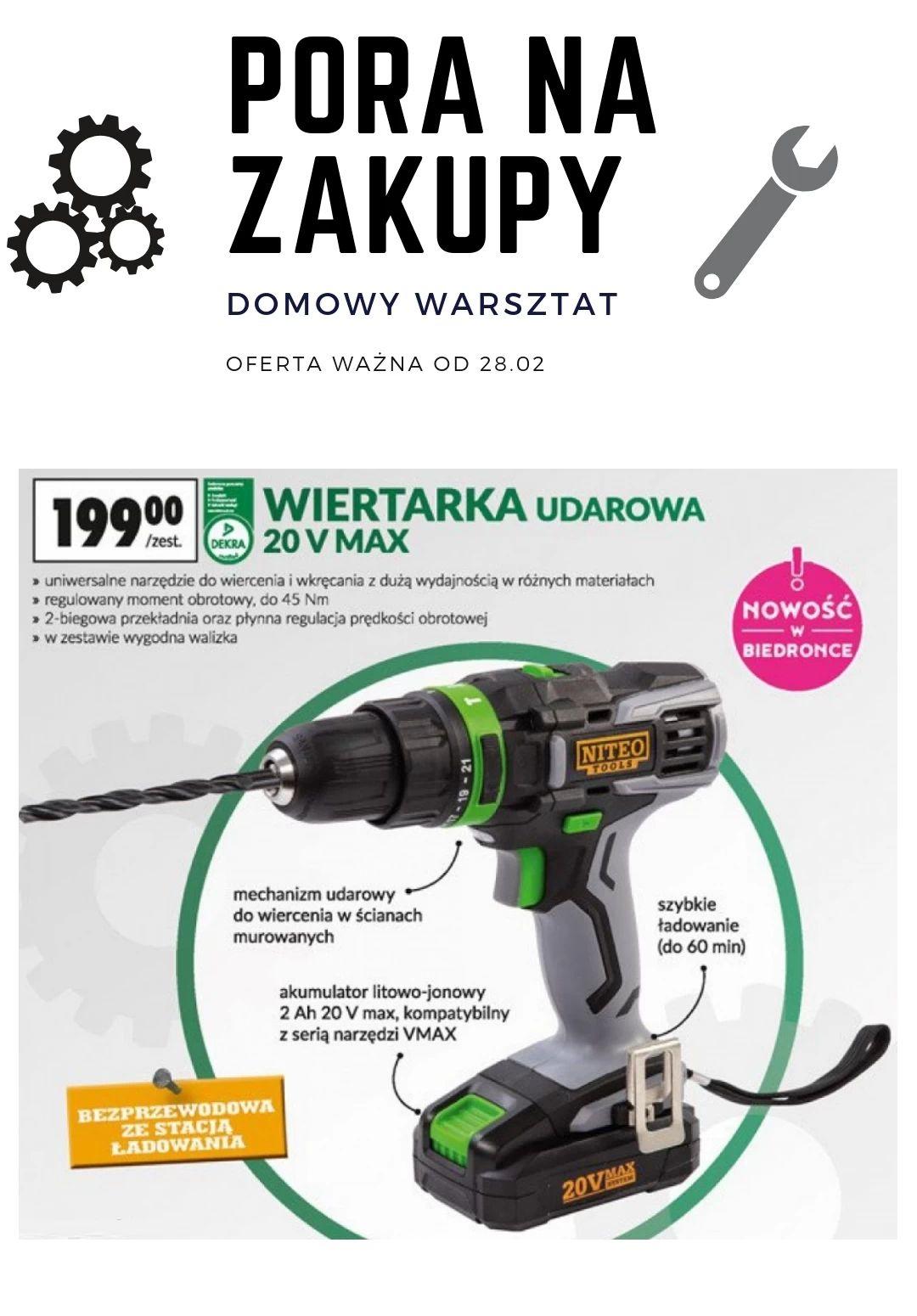 Niteo tools Wiertarko wkretarka z udarem 45Nm! @ Biedronka