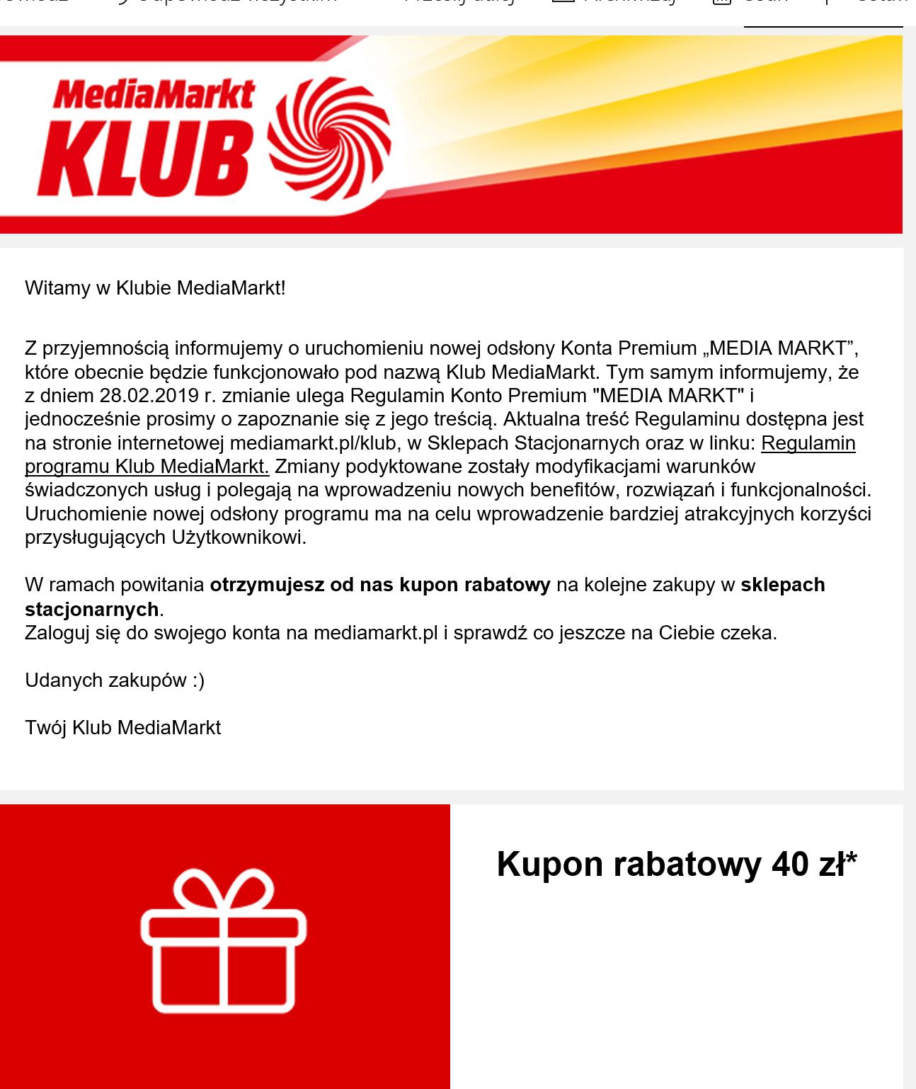 Media Markt - kupon 40zł/240zł