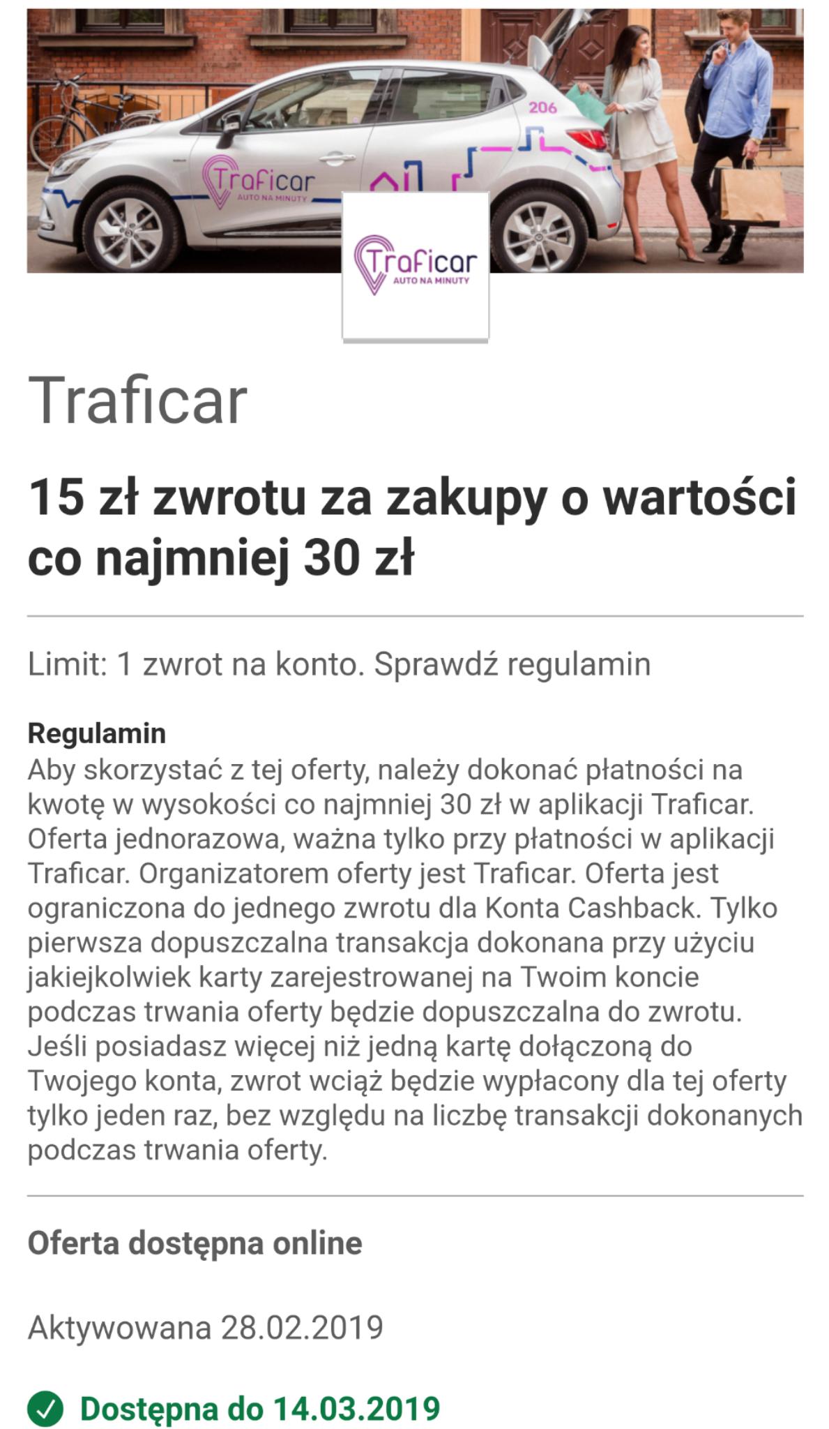 Traficar Visa Oferty(mBank) -15zł przy zakupie za 30zł (zależne od banku!)