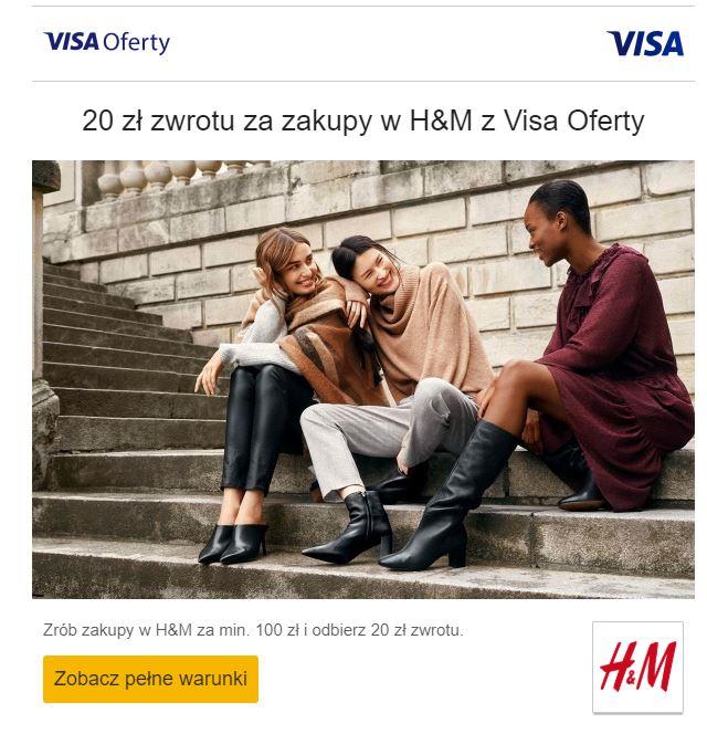 20zł zwrotu za zakupy min. 100zł w sklepach H&M @ Visa Oferty