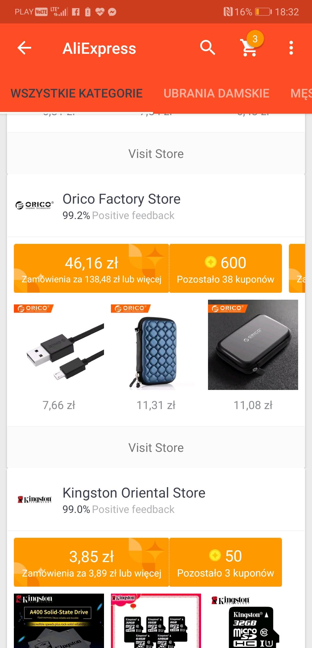 Kupon Orico Factory Store 12/36$ za punkty AliExpress, dodtakowe % zniżki