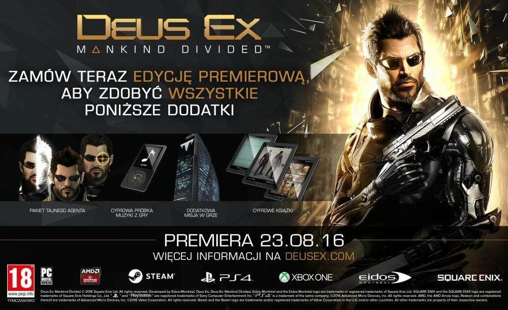 Pudełkowy Deus Ex : Rozłam Ludzkości Edycja Day 1 na PS4 i XOne po 19,99 zł w Ultimie