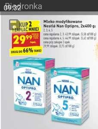 Mleko modyfikowane Nestle Nan Optipro 2x400g