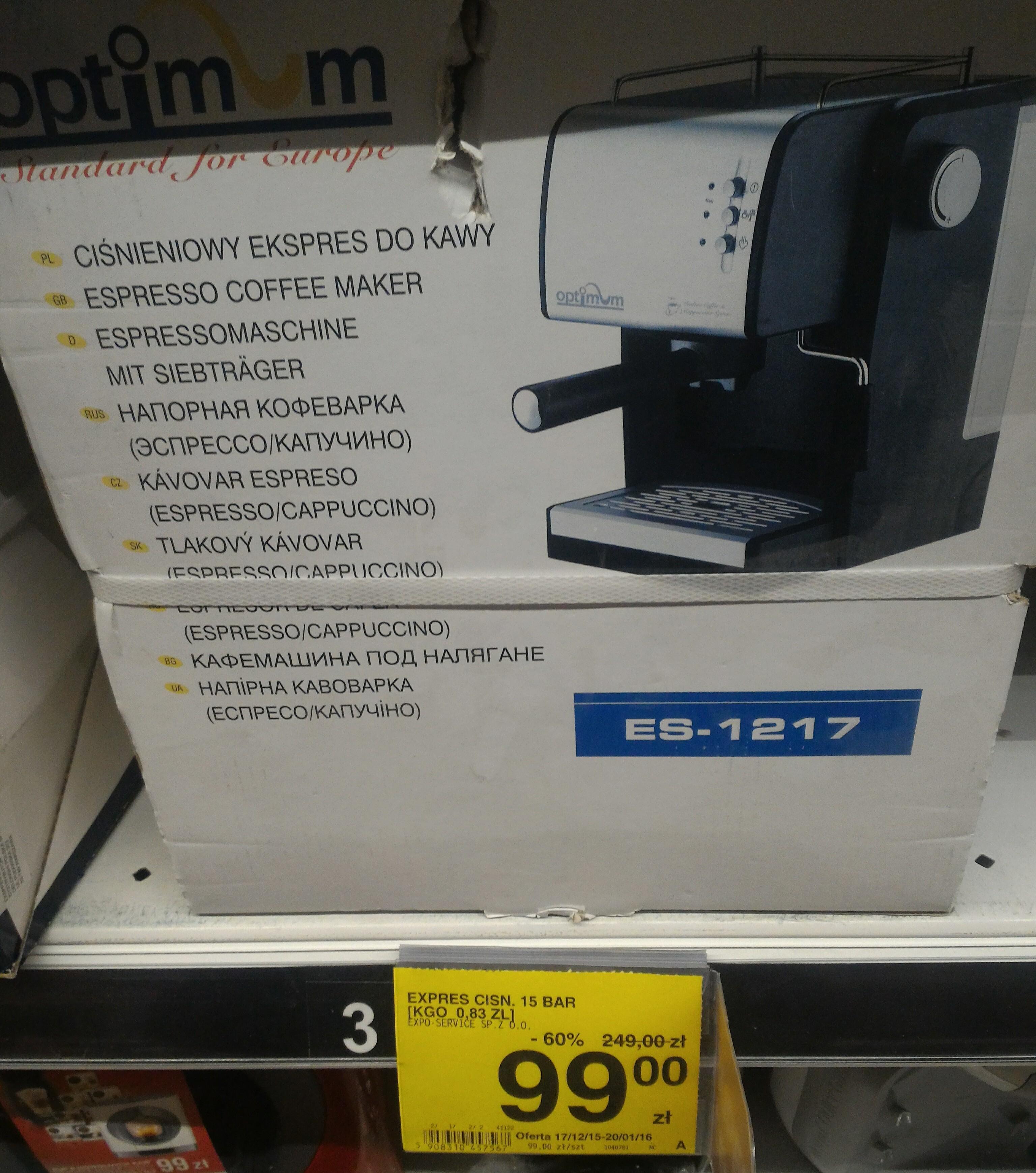 Ciśnieniowy ekspres do kawy. - 60%@ Carrefour