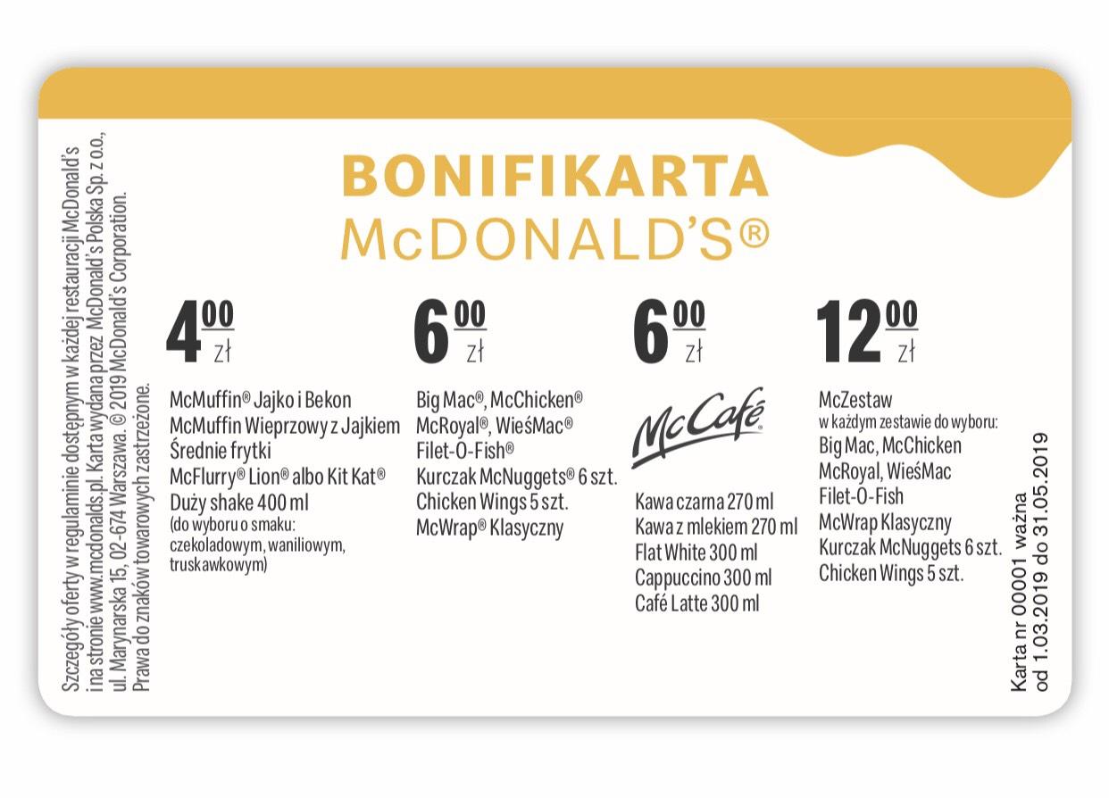 Nowa bonifikarta McDonald's 2019 @McDonald's