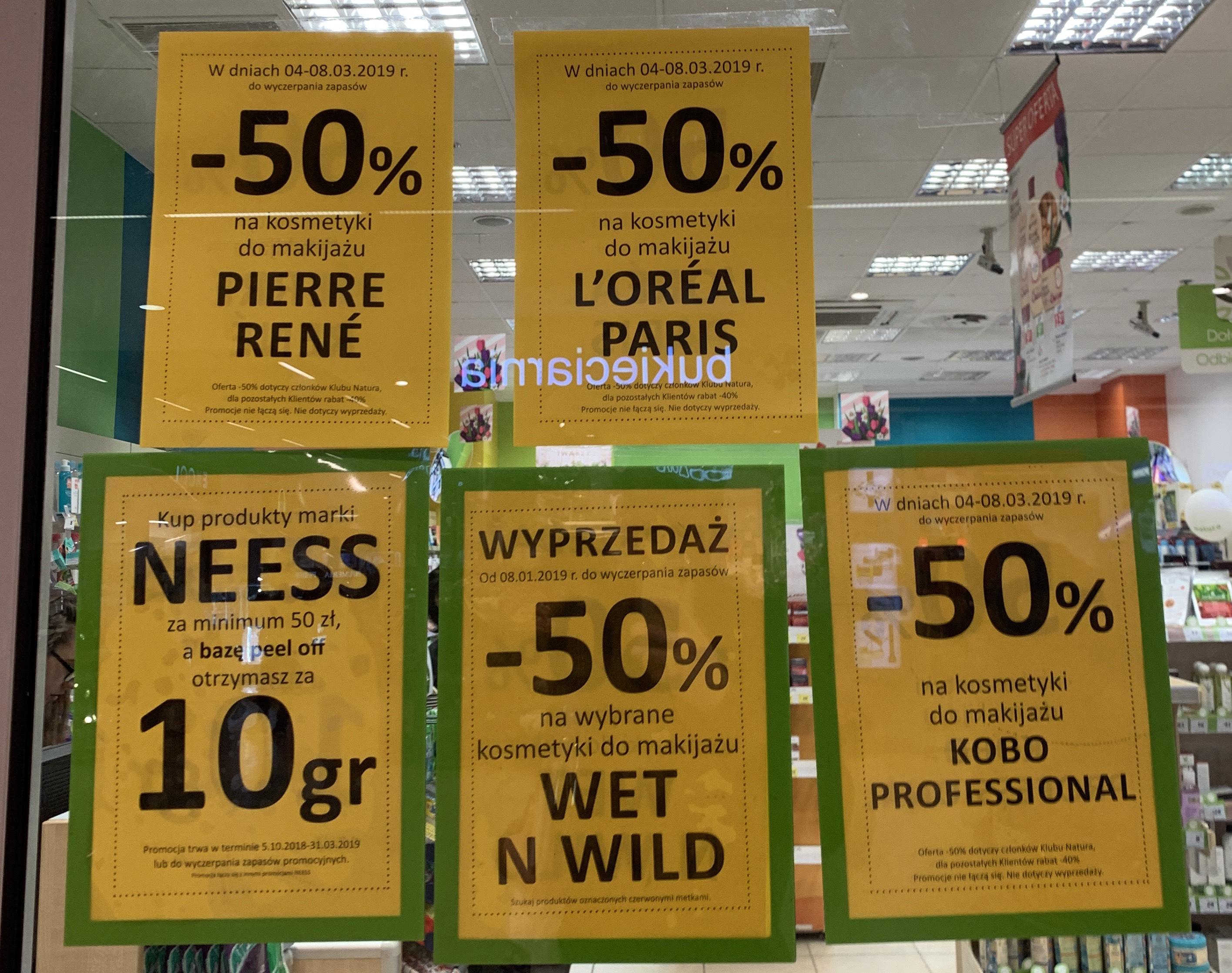 -50% (klub natura) pozostali -40% na kosmetyki do makijażu Loreal Paris, Kobo Professional, Pierre Rene drogeria NATURA